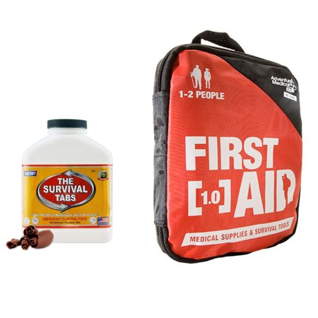 Adventure First Aid 1 0 Constant Treat For Cut Sprains Insect Bites Headaches Muscle Aches  Allergic Reactions  Kit For 1 2 People    Survival Tabs 15 Days Emergency Food  180 Tabs Chocolate