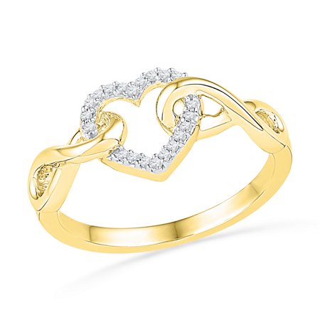 - Size - 7 - Solid 10k Yellow Gold Round White Diamond Engagement Ring OR Fashion Band Channel Set Heart Shaped Infinity Ring (1/10 cttw)