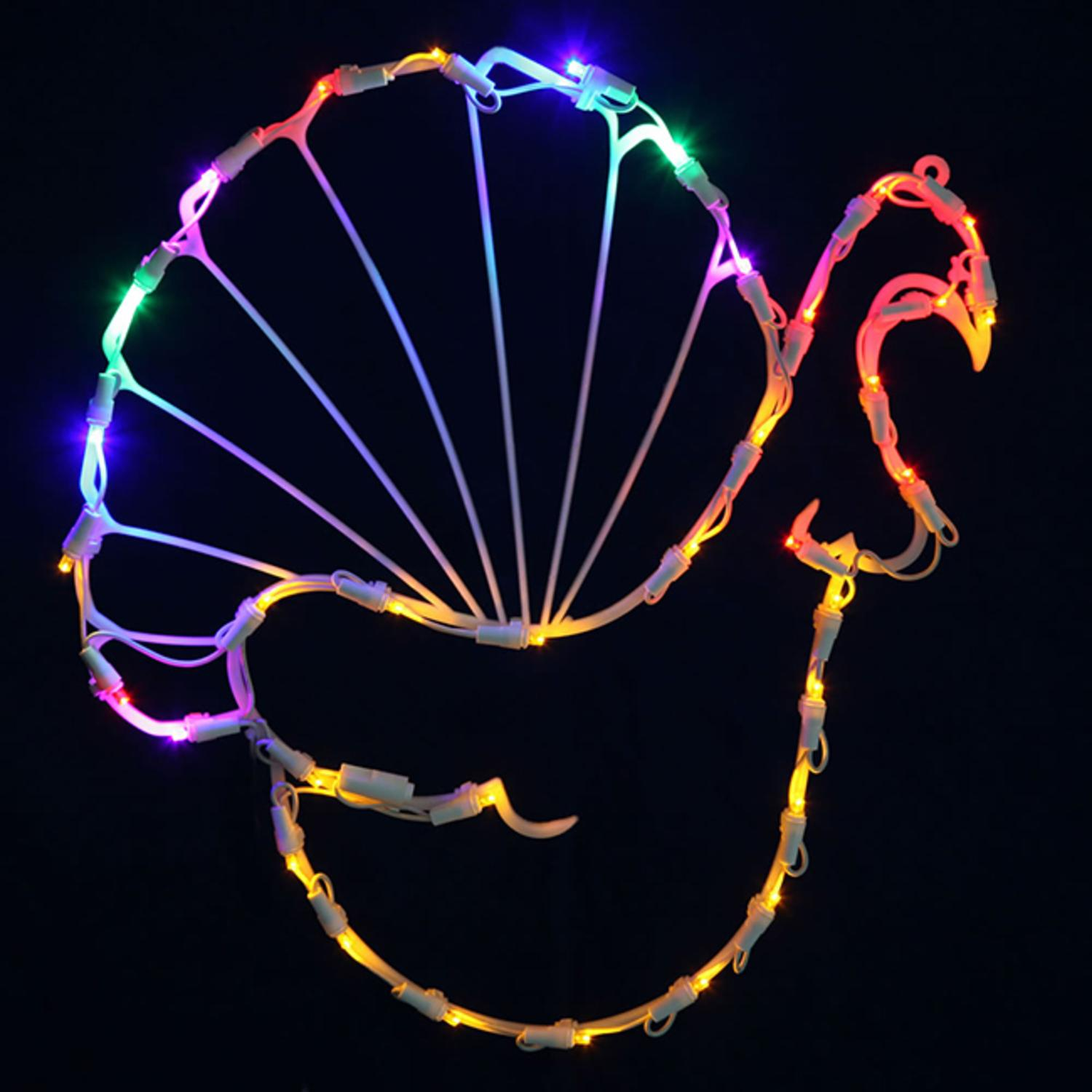 "17"" Lighted LED Turkey Thanksgiving Window Silhouette Decoration"