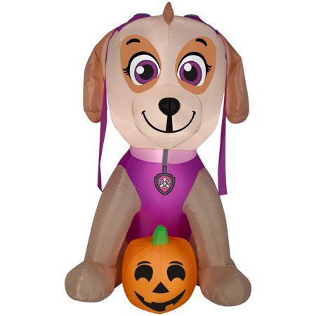 Halloween Airblown Inflatable Skye with Pumpkin 4FT Tall (Inflatable Cat Halloween Decorations)