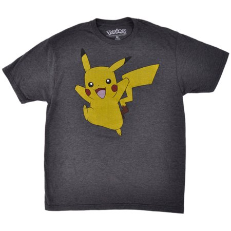 a27116b0 LICENSED - Pokemon Pikachu T-Shirt Nintendo Top Adult Mens Charcoal -  Walmart.com