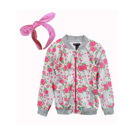 - Rose Print Knit Bomber Jacket (Little Girls & Big Girls)