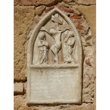 Carved Stone Sculpture (Canvas Print Carved Stone Cruz Crucifixion Romanesque Sculpture Stretched Canvas 10 x 14)