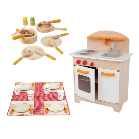 Hape Kids Wooden Gourmet Play Kitchen + Dish and Utensil Set + Picnic Dining
