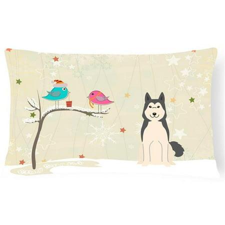 Carolines Treasures BB2497PW1216 Christmas Presents Between Friends West Siberian Laika Spitz Canvas Fabric Decorative Pillow - image 1 of 1