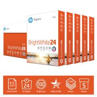 HP Printer Paper, Brightwhite 24lb, 8.5x11, 5 Ream, 2,500 Sheets