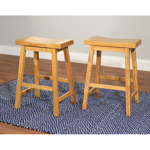 "Belfast Saddle 24"" Stools, Set of 2, Oak"