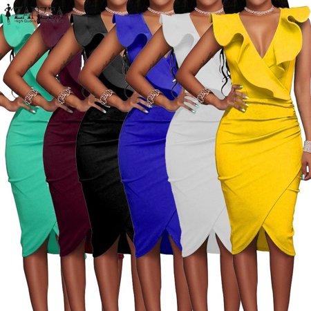 Women's Fashion Sexy Sleeveless Deep V-neck Ruffled Bodycon Dresses Plus Size Business Dress Deep V-neck Dress