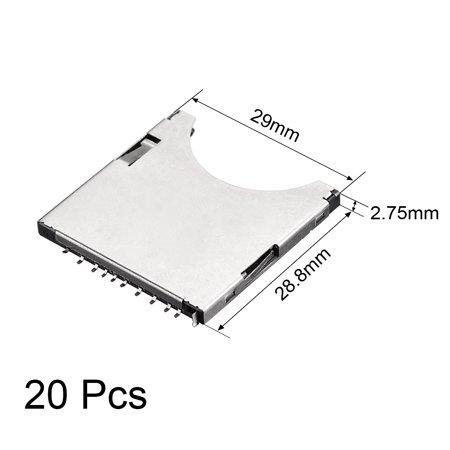 SD Memory Card Socket Holder Spring Loaded Push Type 10 Pin 20pcs - image 3 of 4