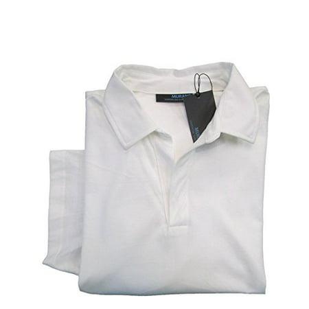 Murano Wardrobe Essentials Whiteness S S Collar V Neck Polo Shirt Medium