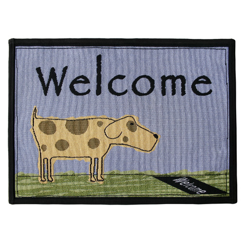 Park B Smith Ltd PB Paws & Co. Blue Water Welcome Dog Tapestry Indoor/Outdoor Area Rug