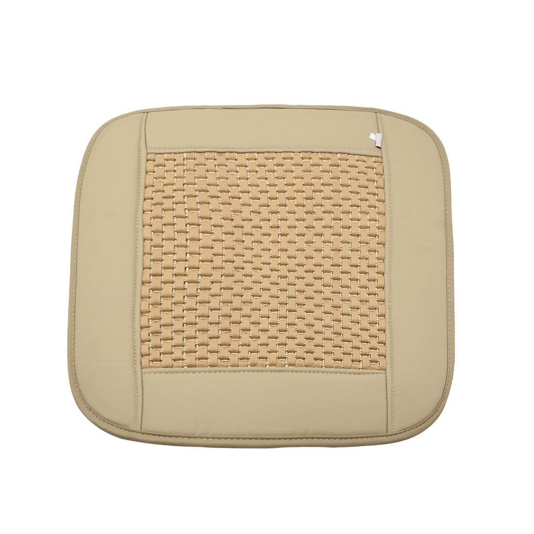 Beige Square Shaped PU Leather Seat Cushion Cover Pad for Car Automobile