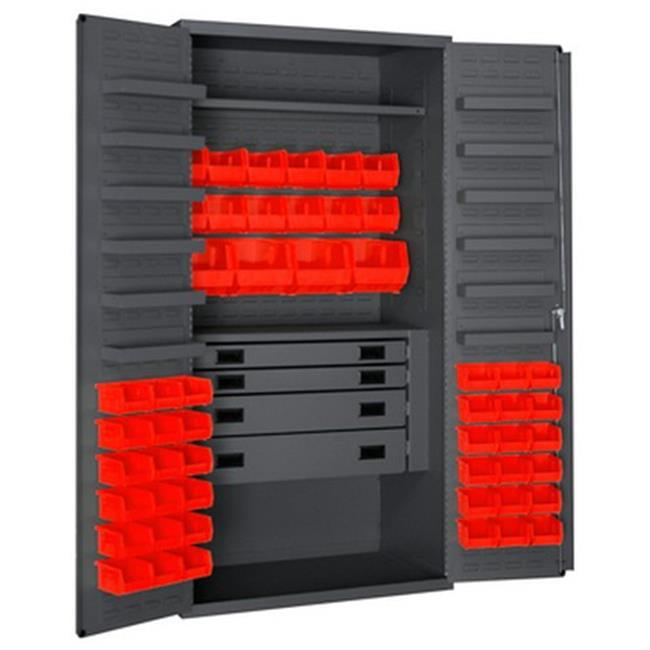 14 Gauge 12 Door Shelves Lockable Cabinet with 52 Red Hook on Bins & 4 Drawers, Gray - 36 in.