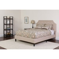 Full Size Arched Tufted Upholstered Platform Bed in Beige Fabric