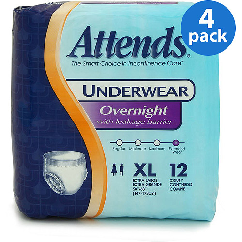 Attends Overnight Protective Underwear with Leakage Barriers, X-Large, 12 count, (Pack of 4)