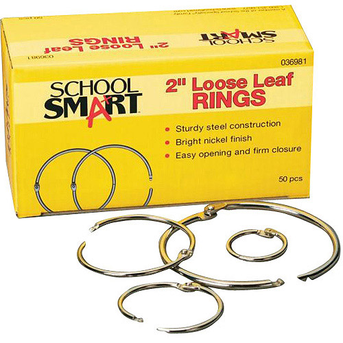 School Mood School Smart Nickel-Plated Loose-Leaf Rings, Box of 100