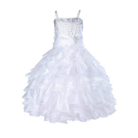 Ekidsbridal Elegant Stunning Rhinestone Organza Layers Flower Girl Dress Junior Bridesmaid Recital Easter Holiday Gown Birthday Girl Dress Communion Formal Clothing Baptism 164s white - 3t Birthday Dress