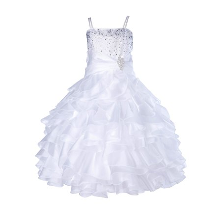 Ekidsbridal Elegant Stunning Rhinestone Organza Layers Flower Girl Dress Junior Bridesmaid Recital Easter Holiday Gown Birthday Girl Dress Communion Formal Clothing Baptism 164s white (Rare Editions Easter Dress)