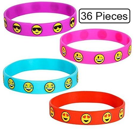 36 Piece Rubber Bracelets Cute Emoji Smiley Face Emotion, Silicone Wrist Band For Kids, Party Favor, To Keep Or To Trade, Carnival, Summer Camp Program, Assorted Brilliant Colors - By Katzco