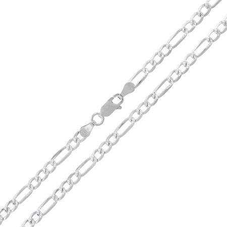 Sterling Silver Italian 3.5mm Figaro Link Diamond-Cut ITProLux Solid 925 Necklace Chain 16