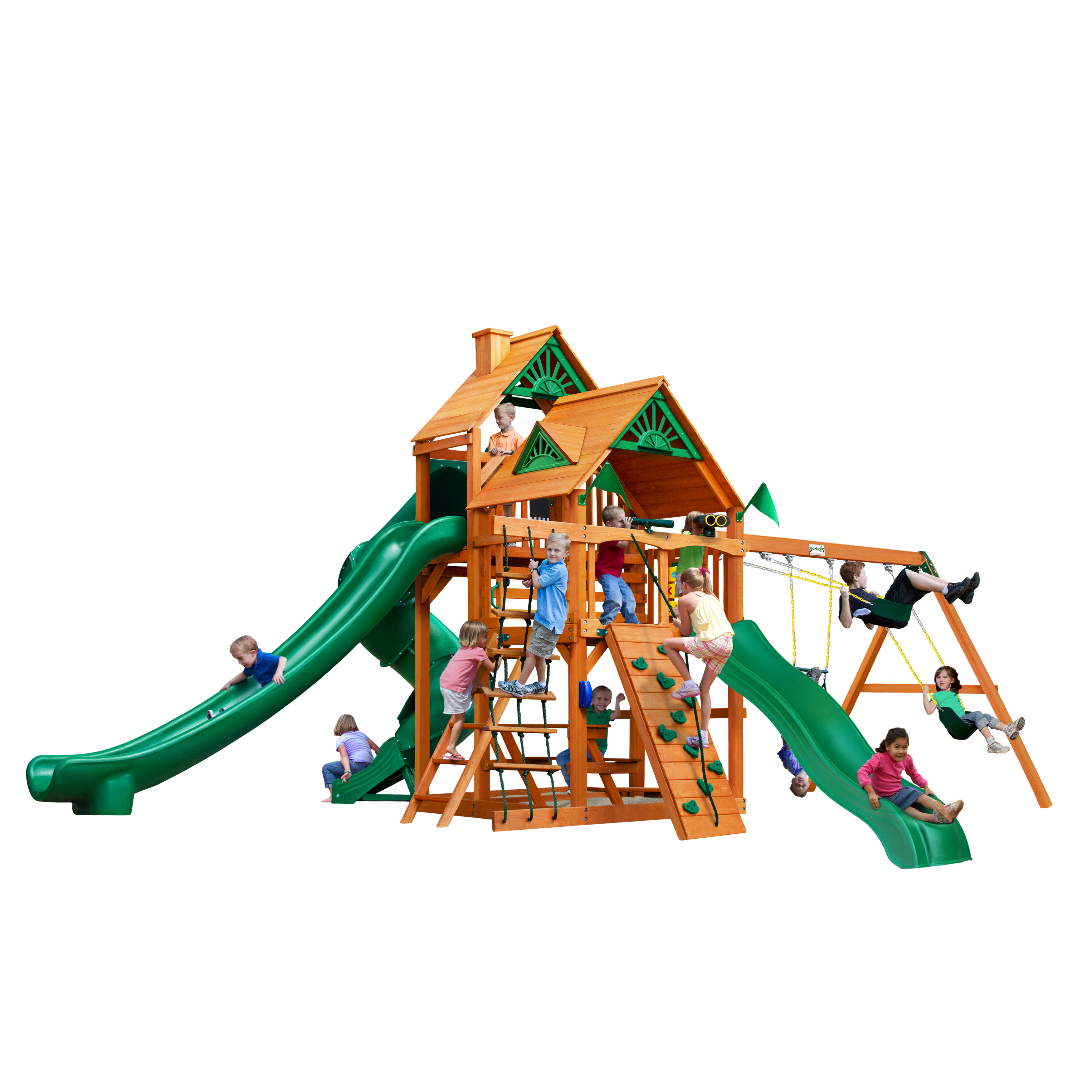 Gorilla Playsets Great Skye II Wooden Swing Set with 3 Slides, Rope Ladder, and 2 Wood Roofs by Gorilla Playsets