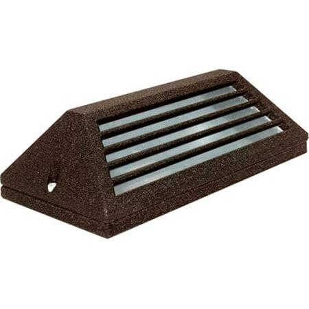 Dabmar Lighting LV608-BZ Cast Aluminum Surface Mount Louvered Brick, Step, Wall & Deck Light, Bronze - 4 x 7.25 x 2.25 in.