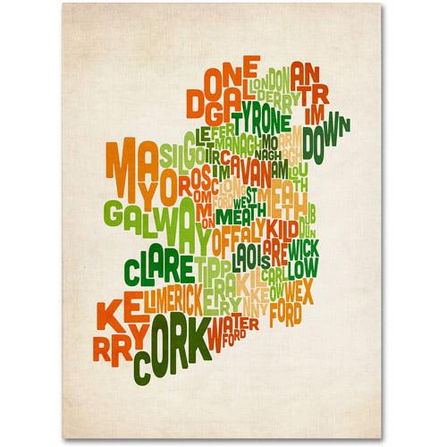 Trademark Art 'Ireland Text Map' Canvas Art by Michael Tompsett