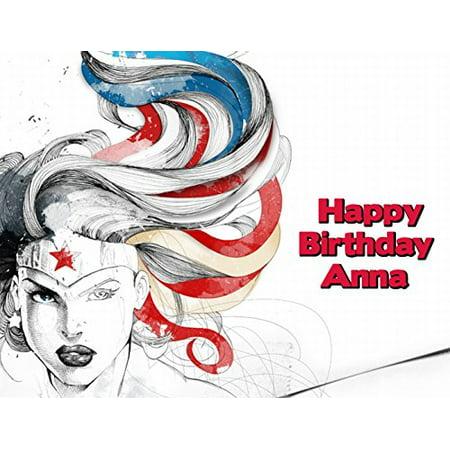 Wonder Woman Superhero Edible Frosting Image  Cake Topper  1/4 Sheet -