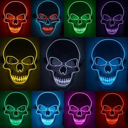 Halloween Costumes Skull Mask (Tagital LED Scary Skull Halloween Mask Costume Cosplay EL Wire Light Up Halloween)