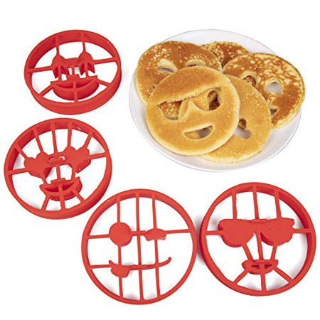 Emoji Pancake Molds and Egg Rings - 4 Piece Reusable Silicone Smiley Face Maker Doubles as Cookie Maker Set- FDA Approved, BPA Free, Food Safe, Heat Resistant Silicone ()