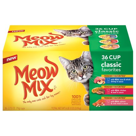 Meow Mix Classic Favorites 3 Flavor Variety Pack, Real Tuna & Whole Shrimp, Real Chicken & Beef, and Real Salmon & Crab Meat (2.75 oz., 36