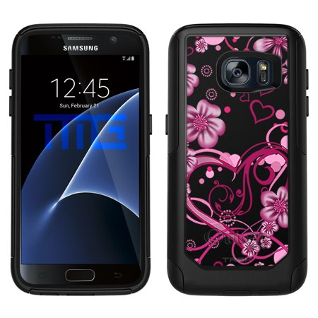 (OtterBox Commuter Samsung Galaxy S7 Case - Sketch Hearts Pink on Black OtterBox Case)