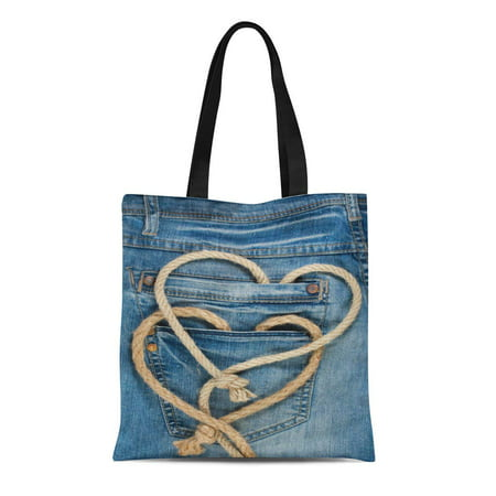Blue Canvas Tote - SIDONKU Canvas Tote Bag Blue Cowboy Valentine Hearts Shaped Rope on Denim Jeans Reusable Shoulder Grocery Shopping Bags Handbag