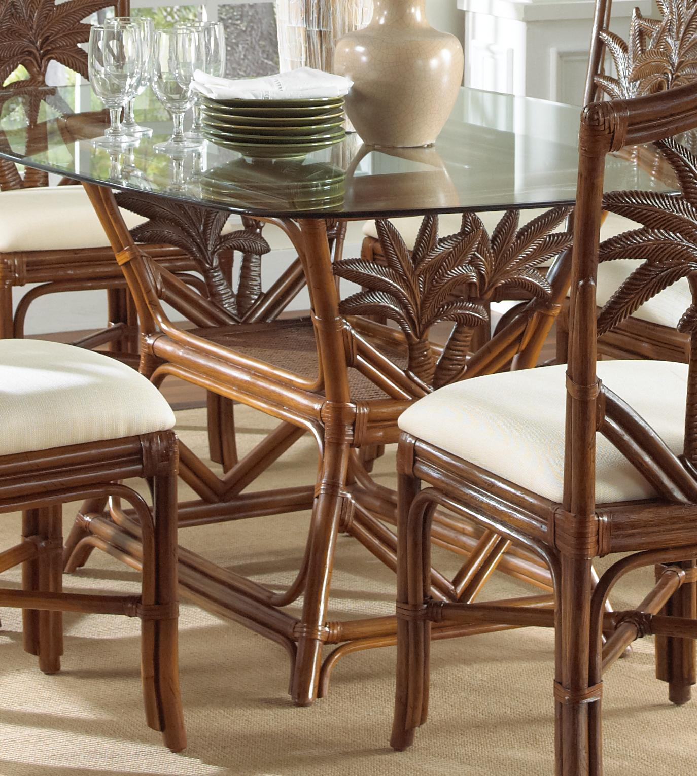 Indoor Rattan & Wicker Rectangular Dining Table-Finish:TC Antique