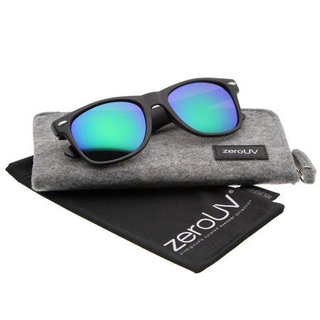 zeroUV - Matte Finish Color Mirror Lens Large Square Horn Rimmed Sunglasses 55mm - 55mm Large Square Horn Rimmed Sunglasses With A Matte Finish & Colored Mirror Lenses