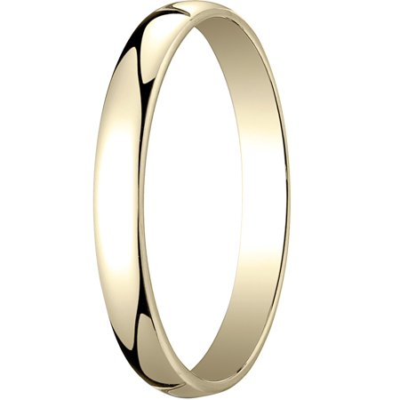 Mens 14K Yellow Gold, 3.0mm Low Dome Light Wedding Band