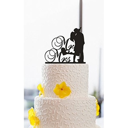 Tayyakoushi Wedding Cake Toppers, Wedding, Anniversary, Bridal Shower, Engagement Party Script Cake Topper,Funny Wedding Cake Topper Silhouette Party Favors