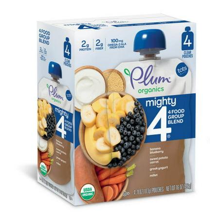 - Plum Organics Mighty 4 Blends Banana, Blueberry, Sweet Potato, Carrot, Greek Yogurt, Millet 4oz (Pack of 4)