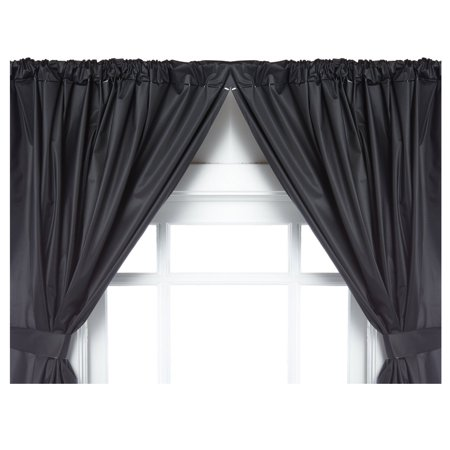 "Black Double Swag Vinyl Bathroom Window Curtain w/ Tie Backs: 36""W x 45""L - Walmart.com"
