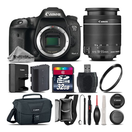 Canon EOS 7D Mark II DSLR Camera + Canon 18-55mm IS STM Lens + 32GB Class 10 Memory Card + Canon EOS Shoulder Bag 100ES + UV Filter + Card Reader + Lens Cap Holder - International Version (Minolta Maxxum 7d)