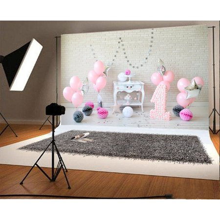 HelloDecor Polyster 7x5ft Backdrop Photography Background Balloons Paper Flowers White Brick Wall Newborn Baby Kids 1st Happy Birthday Party Portraits Backdrop Photo Studio Prop ()
