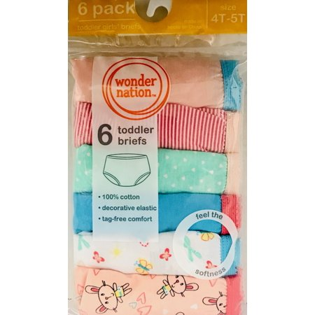 Wonder Nations Girls Brief Underwear, 6 Pack Panties (Little Girls & Big Girls)