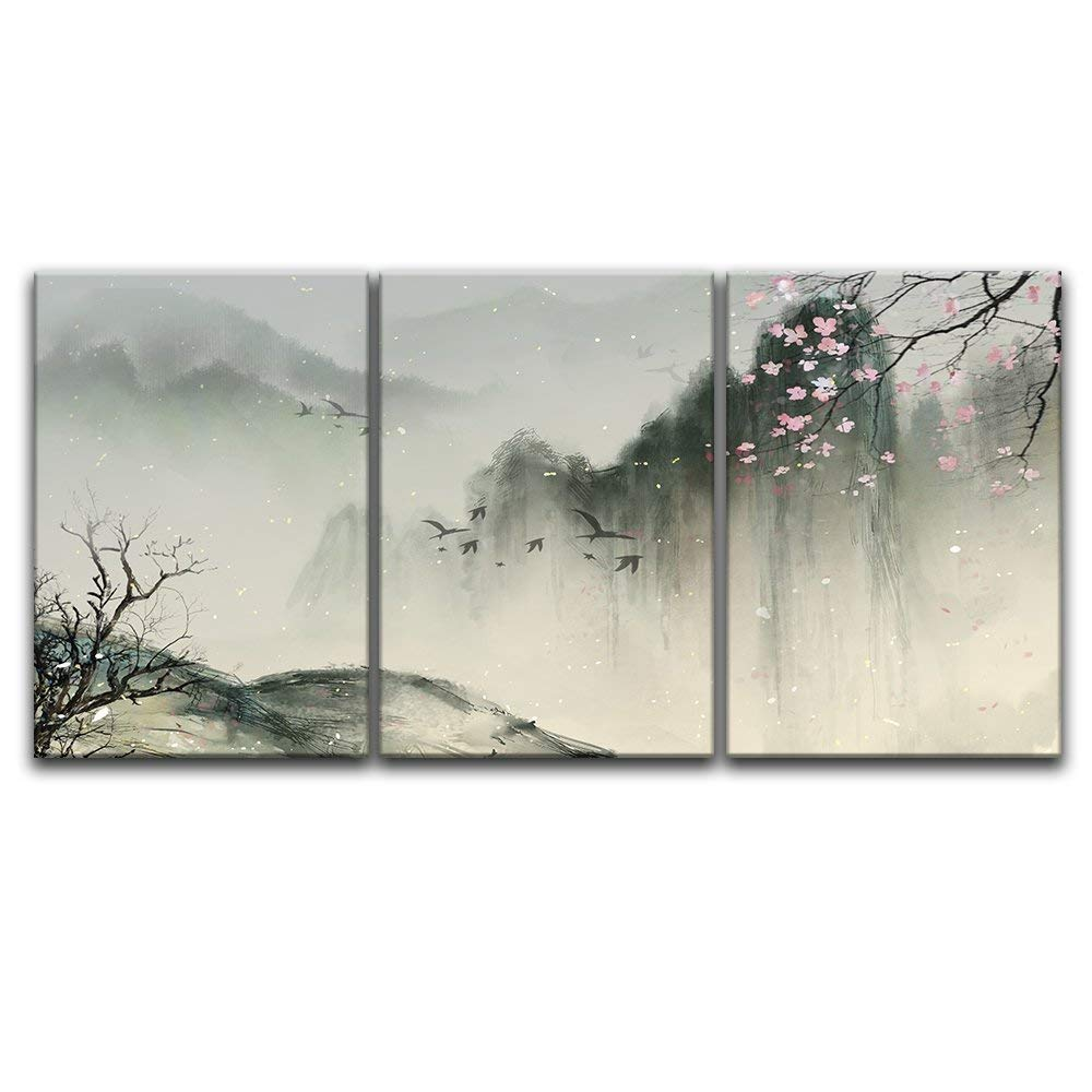 wall26-3 Panel Canvas Wall Art Modern Home Decor Ready to Hang Chinese Ink Painting Style Mountain and a Boat on The River