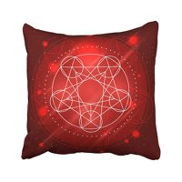 CMFUN Red Warcraft Magic Geometry Sign Alchemy Mystical Symbol on Space Abstract Ancient Pillow Case Pillow Cover 16x16 inch Throw Pillow Covers