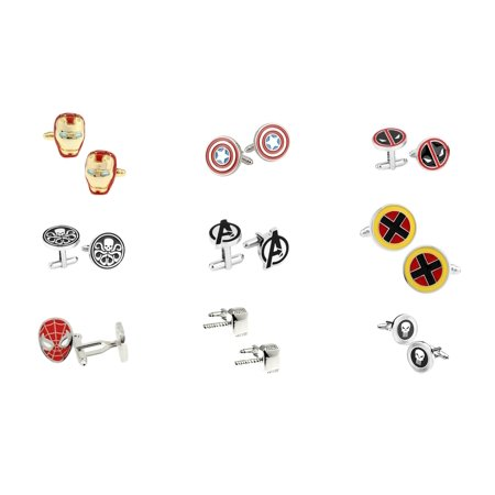Superheroes Marvel Comics Superhero Assorted Logos (9 Pair) Cufflinks