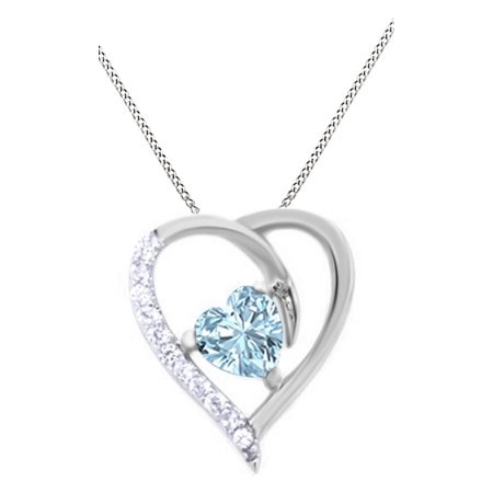 March birthstone simulated aquamarine heart pendant necklace 14k this button opens a dialog that displays additional images for this product with the option to zoom in or out aloadofball Gallery