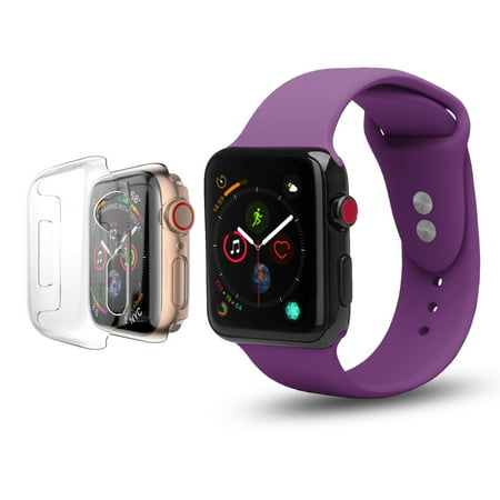 Apple Watch Replacement Bands 44mm w/Full Body Clear Hard Case Screen Protector, Soft Silicone Wristband for iWatch Apple Watch Series 5 - Purple
