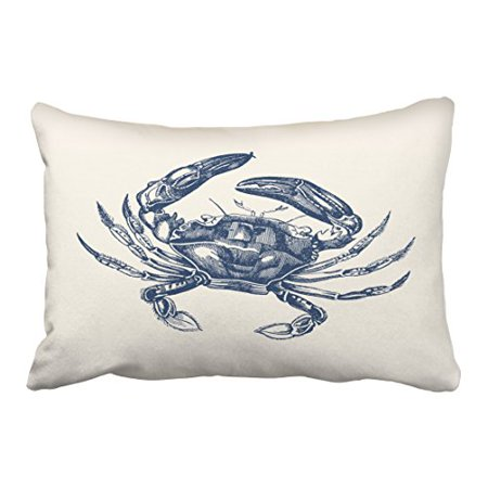Crab Cream (WinHome Rectangl Throw Pillow Covers Vintage Crab Illustration Navy Blue On Cream Simple Pattern Pillowcases Polyester 20 x 30 Inch With Hidden Zipper Home Sofa Cushion Decorative)