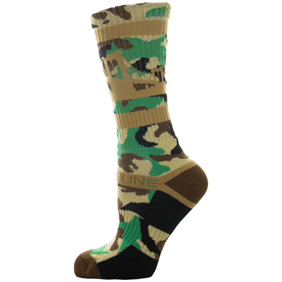 Strideline Athletic Crew Socks Brooklyn Camouflage 1300511 Strapped Fit Mens NYC