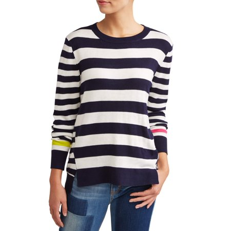 EV1 from Ellen DeGeneres striped high-low sweater women's 1/4 Zip Stripe Sweater
